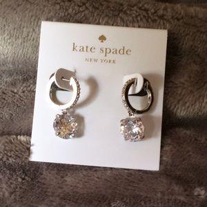 NWT Kate Spade Crystal Pave Drop Earrings Silver